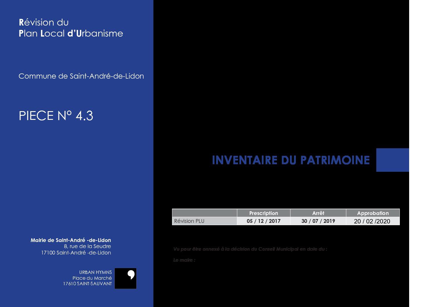 PIECE N° 4.3 – INVENTAIRE DU PATRIMOINE