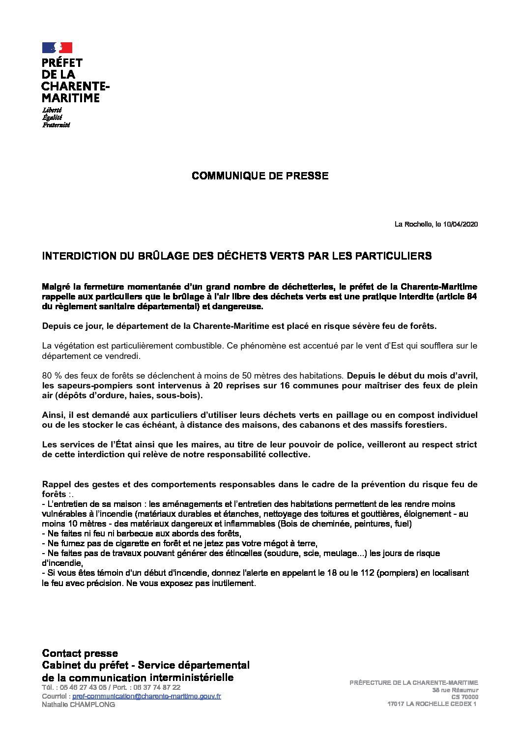 CP Interdiction incinération des déchets verts par les particuliers